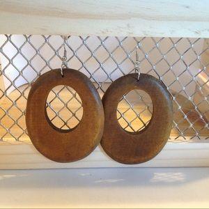Silver Tone Wooden Fashion Earrings